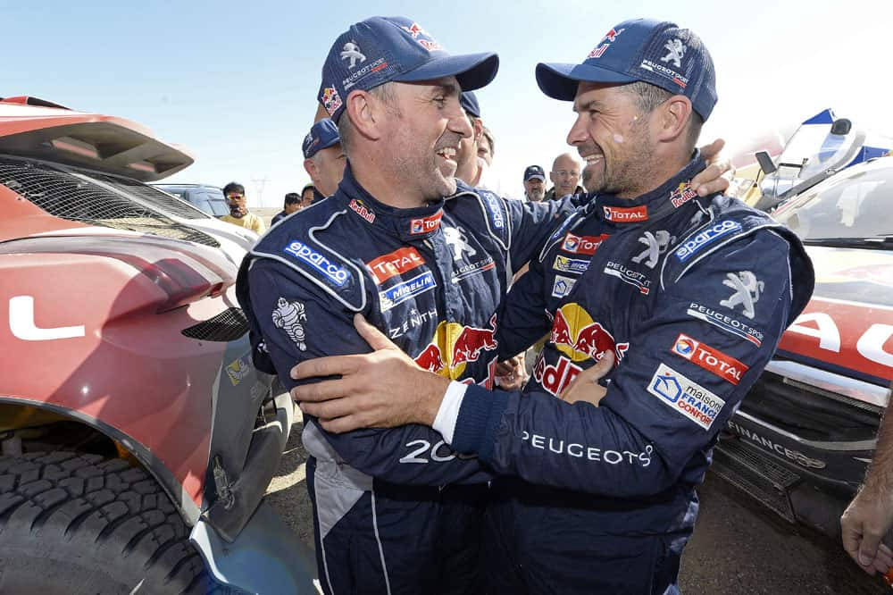 181 PETERHANSEL STEPHANE - - FRA - PEUGEOT 2008 DKR DESPRES CYRIL - FRA - PEUGEOT 2008 DKR during the 2015 China Silk Road rally, stage 13, final stage, from Dunhuang to Dunhuang on september 11th 2015, China. Photo Eric Vargiolu / DPPI